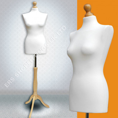Female Cream Body & Natural Wood Tripod Manequin Tailor Bust Size 8/10