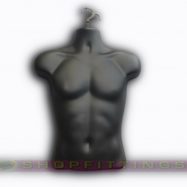 Male Hanging Body Form Retail Clothes Display Mannequin Black (sdl3/4)