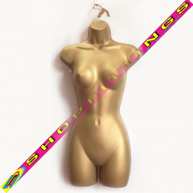 Female Hanging Body Form Full Retail Clothes Display Mannequin Gold (sdlfull)