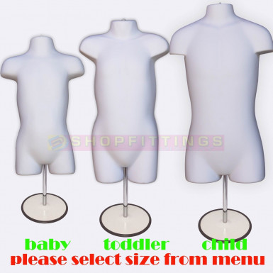 Child Hanging & Free Standing Body Shop Display Form Mannequin with ROUND STAND White