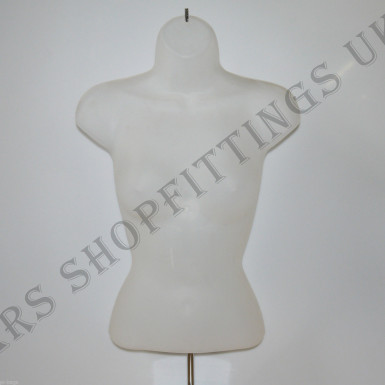 Female Hanging & Free Standing Body Shop Display Form Mannequin with ROUND STAND Semi Clear