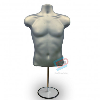 Male Hanging & Free Standing Body Shop Display Form Mannequin with ROUND STAND Sliver