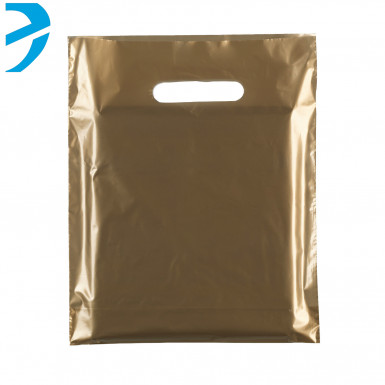 100/500 Plastic Gold Carrier Bags Patch Handle Retail Shopping
