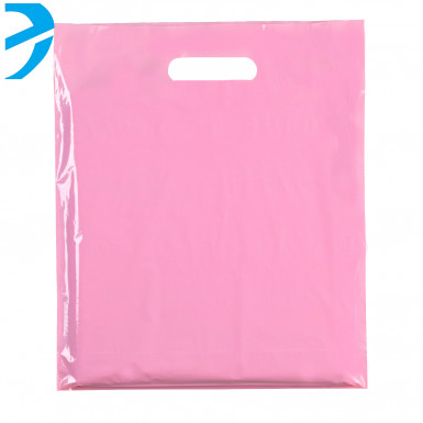 100/500 Plastic Pink Carrier Bags Patch Handle Retail Shopping