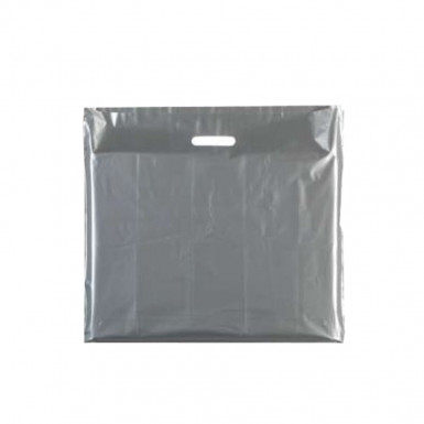 100/500 Plastic Sliver Carrier Bags Patch Handle Retail Shopping