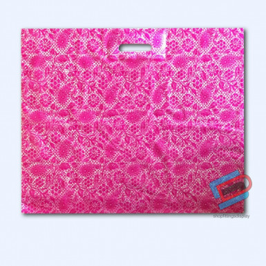 100/500 PINK HENNA PLASTIC CARRIER BAGS