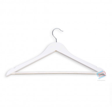 WHITE WOODEN COAT HANGERS ADULT WITH BAR 44cm