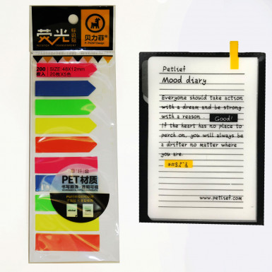 200 sheets Sticky Text Highlighter Plastic Strips Post notes Book it Revision