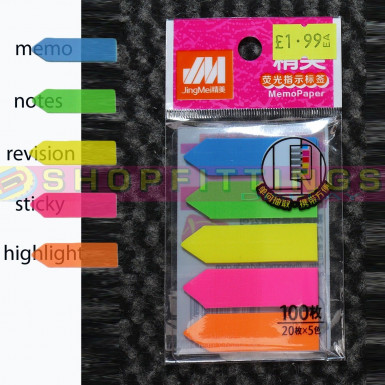 100 sheets Sticky Text Highlighter Strips Post notes Book it Revision Markers