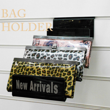 Acrylic Bags Wallet Clutch Bag Retail/Shop Display Stand for Slatwall Groovewall