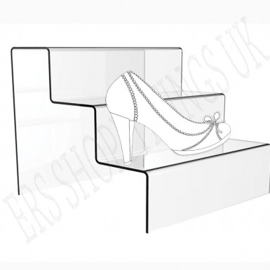 3 Step Clear Acrylic Shoe Jewellery Display Stand Retail Shop 3 Tier Riser