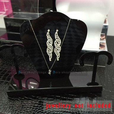 Multi Necklace Stand Jewellery Retail Shop Display Busts Earing Holder UK Black/Clear