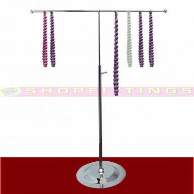 30cm STRAIGHT TOP ADJUSTABLE DISPLAY STAND HANDBAG SCARF JEWELLERY CHROME STAND