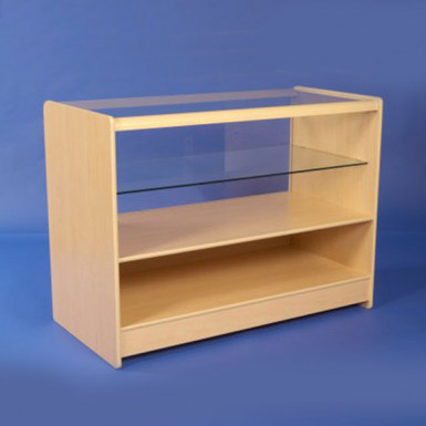 HALF GLASS DISPLAY COUNTERS 1200mm WHITE & MAPLE