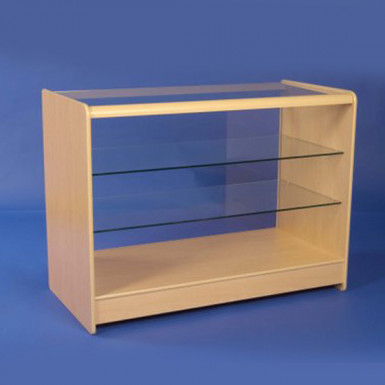 FULL GLASS WOOD DISPLAY COUNTER 1200mm WHITE & MAPLE