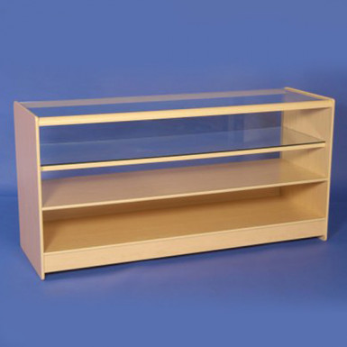 HALF GLASS DISPLAY COUNTERS 1800mm WHITE & MAPLE