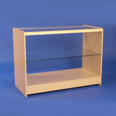 ONE GLASS DISPLAY COUNTERS 1200mm WHITE & MAPLE