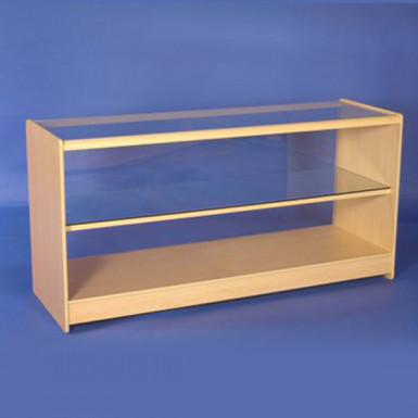 ONE GLASS DISPLAY COUNTERS 1800mm WHITE & MAPLE