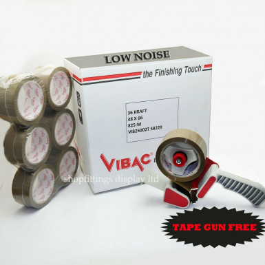 36x Vibac Acrylic Low Noise Parcel Packing Packaging Tape 66m x 48mm + FREE GUN
