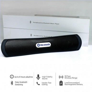 Portable Bluetooth Wireless Speaker Built In Radio and MicroSD Player Black