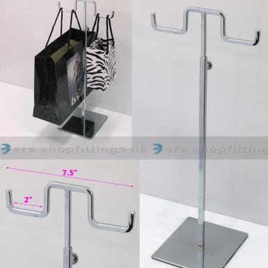 Adjustable Handbag Bag Display Two Hooks Stand Hat Scarf Necklace Hanger