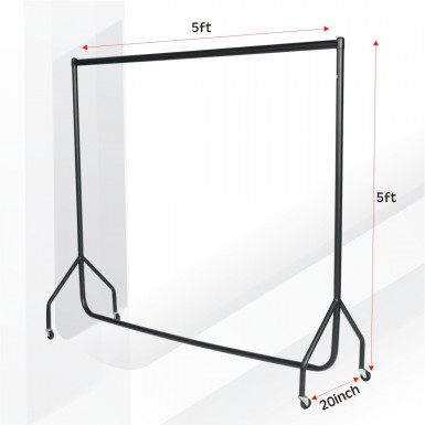 SUPERIOR QUALITY HEAVY DUTY BLACK CLOTHES GARMENT RAIL 5ft L x 5ft HIGH HANGING RAIL