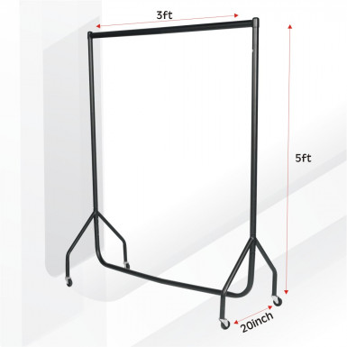 New Garment Clothes Rail 3ft Display Hanging Rail Rack - All Black
