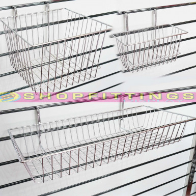 SLATWALL GRIDWALL SHALLOW WIRE BASKET LARGE SMALL MESH BASKET