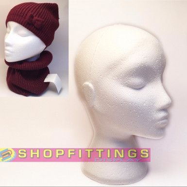 FEMALE MANNEQUIN DISPLAY HEAD POLYSTYRENE HAT SCARF DISPLAY