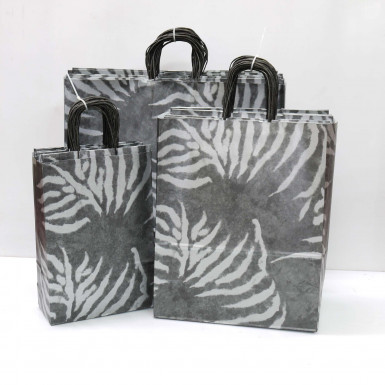 Silver Zebra Paper Carrier Bags (PACK OF 25)