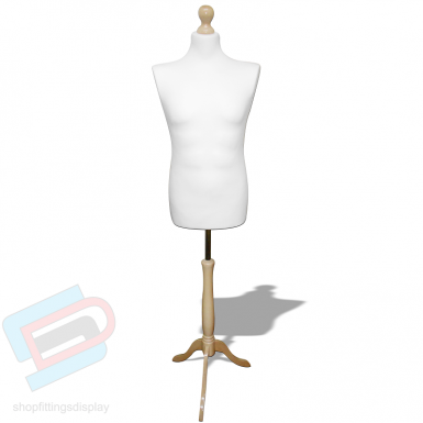 Male tailor mannequin cream with wooden stand