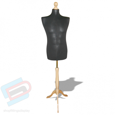 Male tailor mannequin black with wooden stand