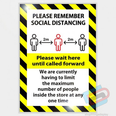 'PLEASE REMEMBER SOCIAL DISTANCING' Laminated card a4