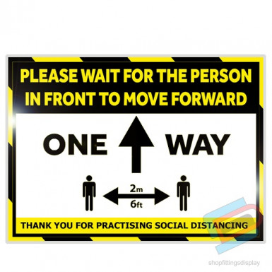 'ONE WAY' Laminated card a4