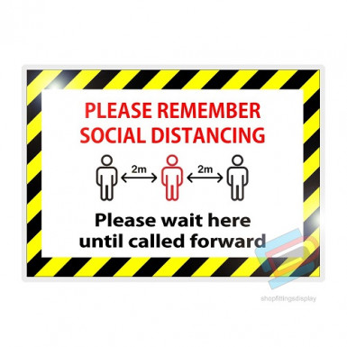 'PLEASE WAIT HERE UNTIL CALLED FORWARD' Laminated card a4