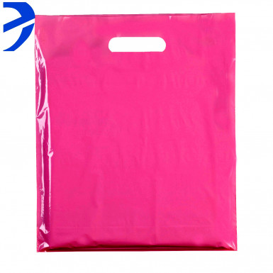 100 Plastic Hot Pink Carrier Bags Patch Handle Retail Shopping