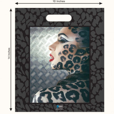 High Quality Plastic Carrier Bags Lady Leopard (PACK OF 100)