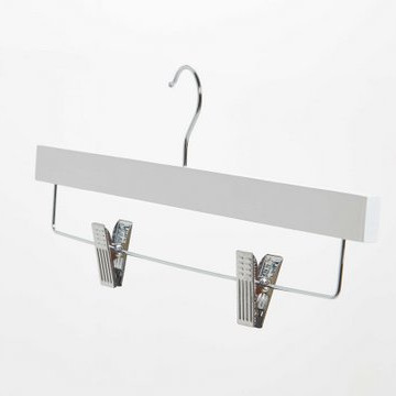 White Wooden Trouser Hangers With Clips
