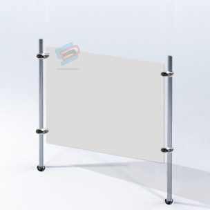 PPE Screen Acrylic 80cm x 60cm  with Chrome Tube Stand