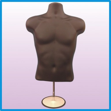Male Hanging & Free Standing Body Shop Display Form Mannequin with ROUND STAND Black