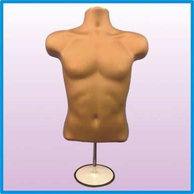 Male Hanging & Free Standing Body Shop Display Form Mannequin with ROUND STAND Gold