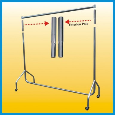"CLOTHES RAIL Garment Rails PAIR OF 24"" Tall Extensions - Silver"
