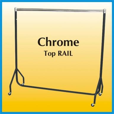 New 3 FT Garment Clothes Display Hanging Rail Rack- Chrome Top