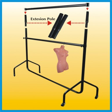 "CLOTHES RAIL Garment Rails PAIR OF 12"" Tall Extensions - Black"