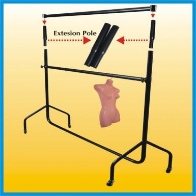 "CLOTHES RAIL Garment Rails PAIR OF 12"" Tall Extensions - Black"