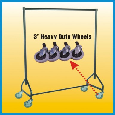 """New 3"""" Extra Heavy Duty Rubber Wheels For Garment Rails - UK MADE - Silver"""
