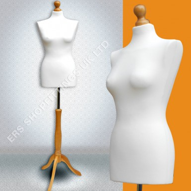 Female Mannequin Tailors Dummy Display Cream with Pine Wooden Tripod size 12