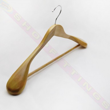 45cm Lotus Wooden Clothes Hanger Non Slip Bar Broad Shoulder Bulbous Thick End
